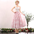 Elegant Cocktail Dress Pink Tulle White Applique Beaded Vestidos De Festa Zipper Back Tea-Length Party Gowns D26