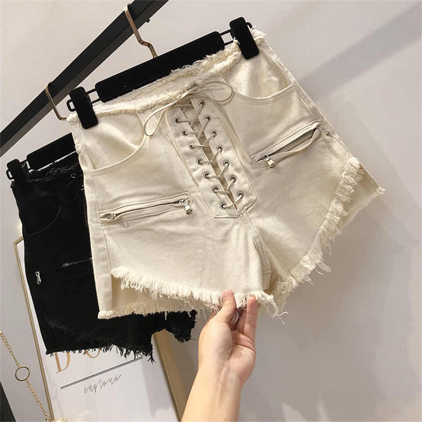 Gowyimmes New Summer Europ Style Jeans Shorts Women High Waist Cotton shorts Big Size Girl Lace Up Denim Shorts Streetwear PD453(China)