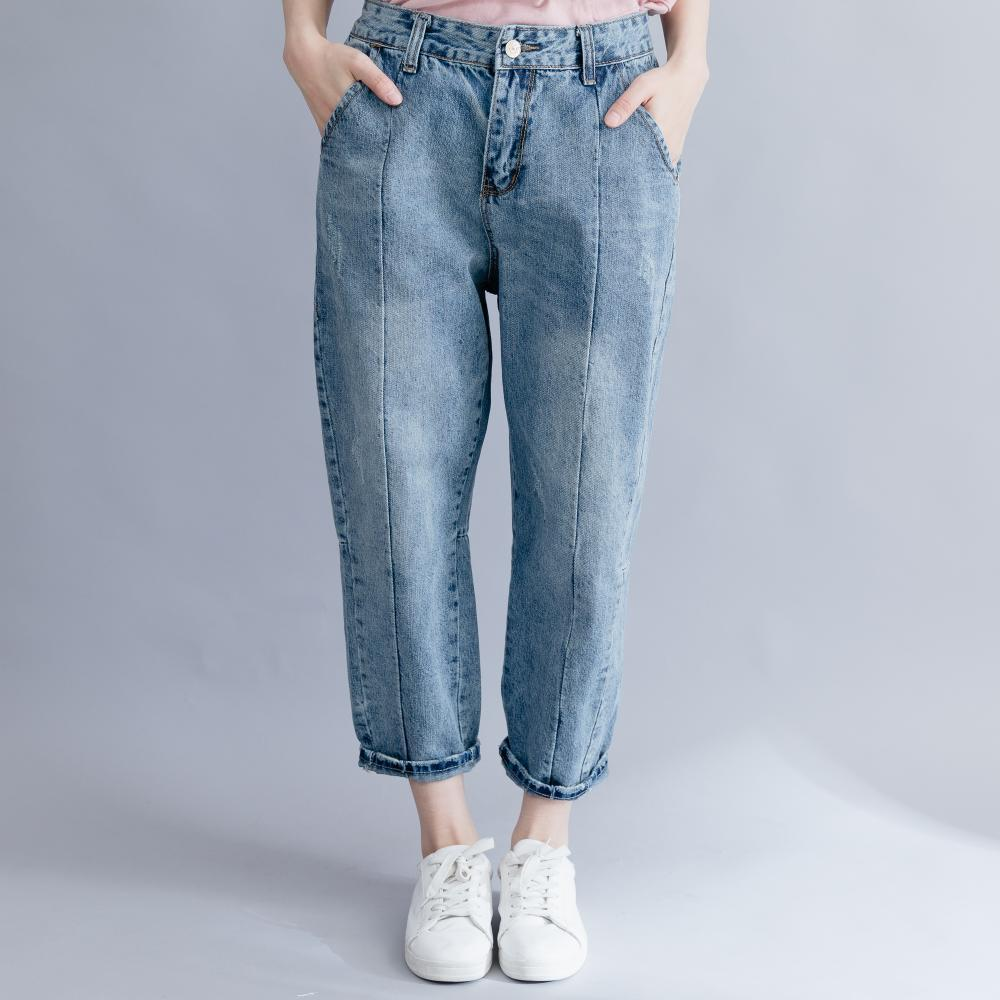 Johnature 2019 Summer Denim Full Length Pants New Loose Casual Korean Pockets Zipper Fly Solid Color Women Jeans Cross Pants