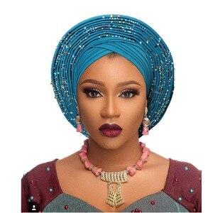 Image 4 - Geleneksel afrika başkanı sarar afrika şapka headtie kadın nijeryalı gele türban bandı zaten yapılmış aso oke gele headtie