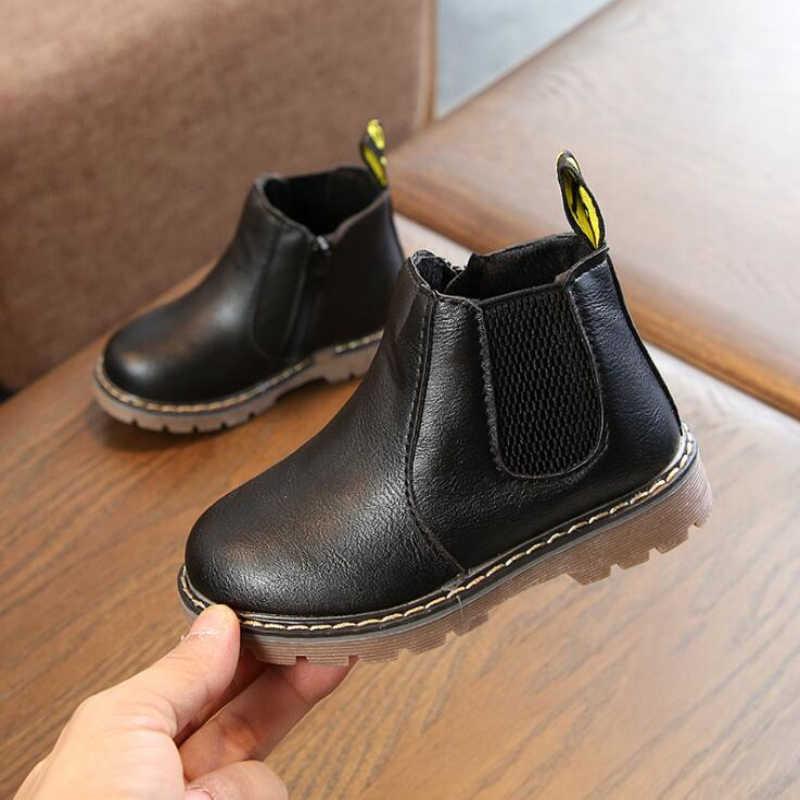 Yeni 2019 Bahar Çocuklar Deri Chelsea Çizmeler Su Geçirmez Çocuk Spor Ayakkabı Gri siyah çizmeler Bebek Kız Botları Erkek Ayakkabı