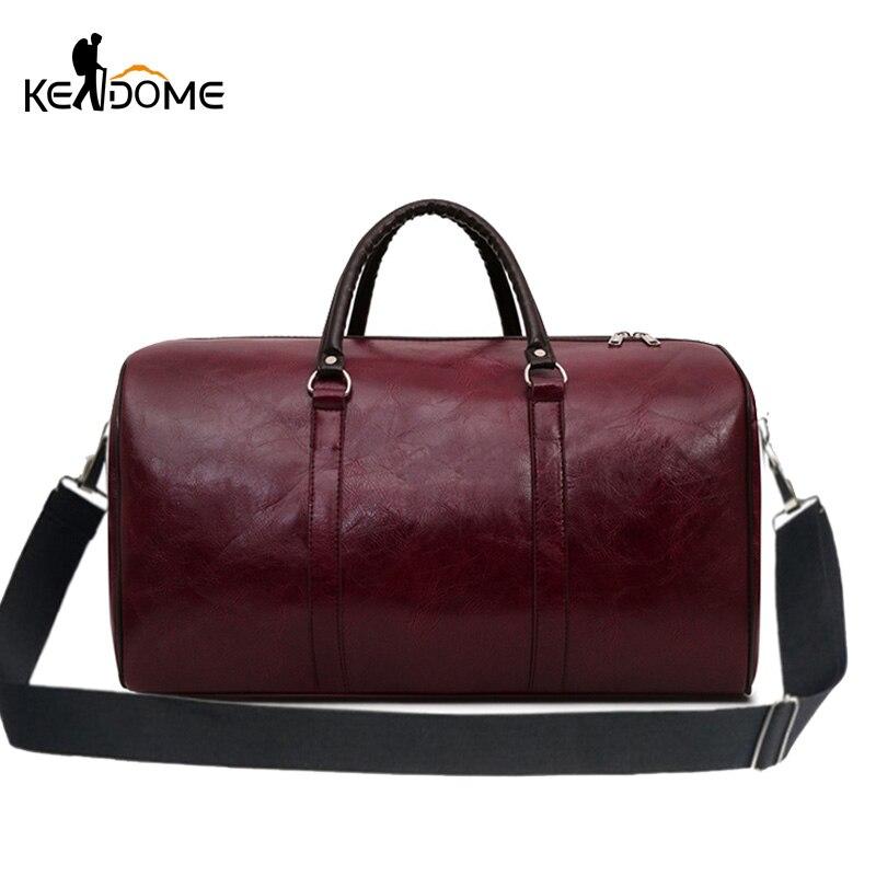 PU Leather Fitness Gym Bags Training Travel Bag Men Women Handbag Duffel Over The Shoulder Weekend Tote Tas Sa De Sport XA73D