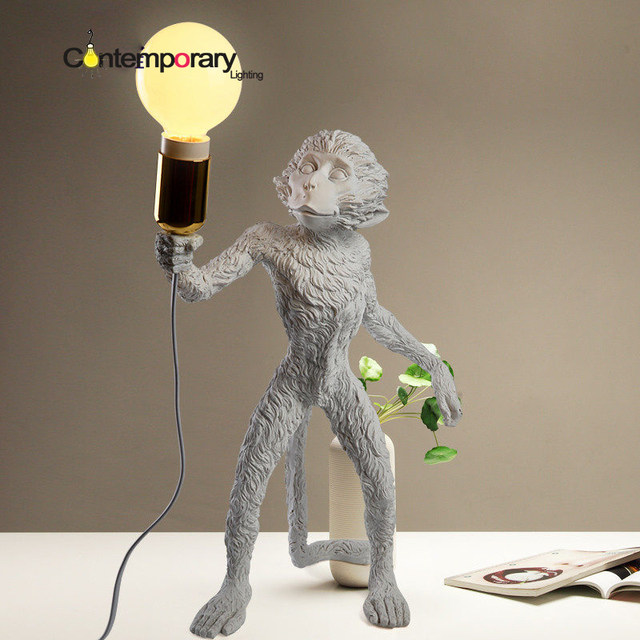 Fashion Simple Art Nordic White Replicas Resin Seletti Monkey Table Lamp  For Bedroom Office Led Desk Light Bedside Decoration