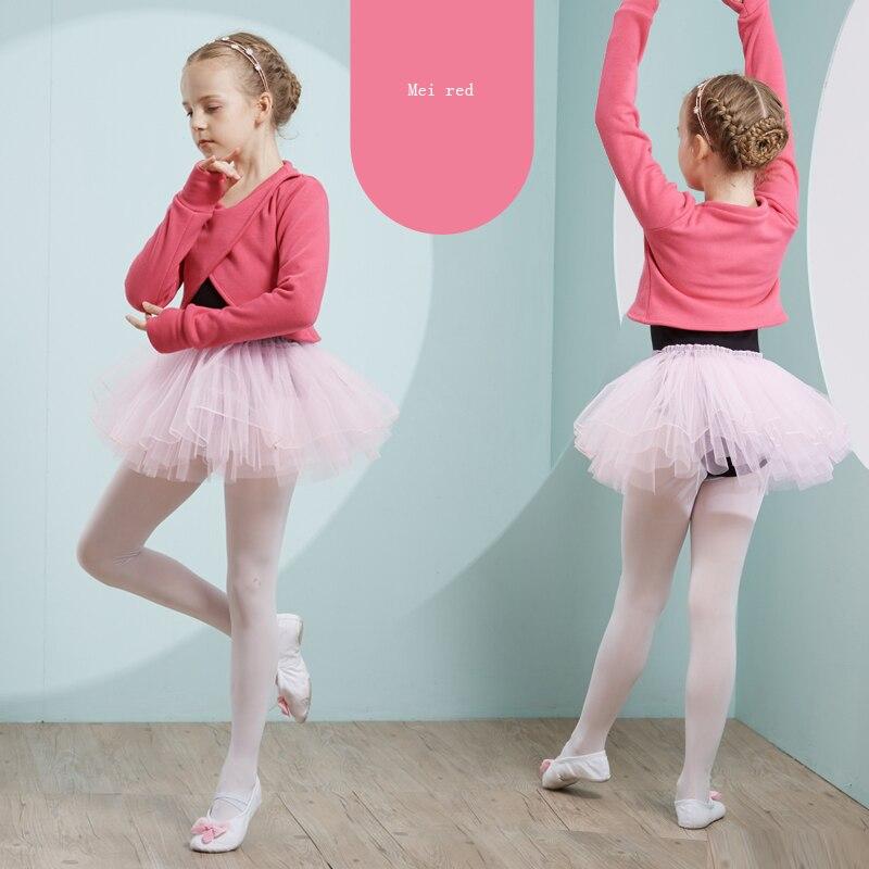 Ballet justaucorps filles Tutu robe mode danse Costumes pour enfants à manches longues body hiver Plus velours Dancewear vêtements DC1219 - 4