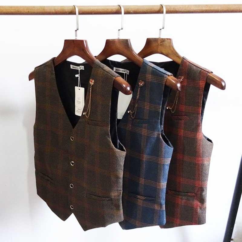 Fashion Tide Men's British Gentleman Retro Suit Vest Korean Version Casual Slim Wedding Waistcoat Men Clothes Plus Size Vest