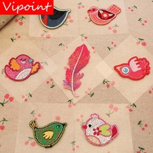 VIPOINT self-adhesion embroidery bird feather patches animal badges applique for clothing YX-225