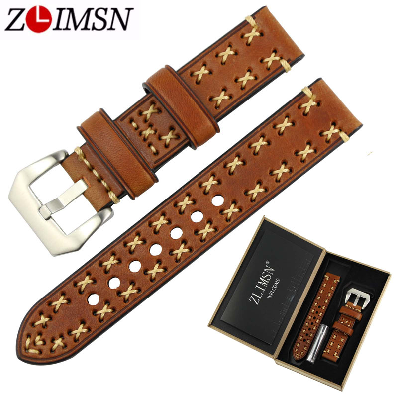ZLIMSN Thick Real Genuiue Leather Men Watch Band Straps 20 22 24 26mm Watchbands Brown Grey Stainless Steel Silver Pin Buckle zlimsn watch band buckles stainless steel leather straps buckle watchbands 4 colors 16 18 20 22mm watches accessories