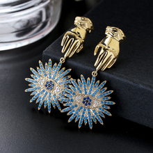 Retro Europe Zircon Blue Eyes Lucky Palm Symbol Earrings Ins Style 925 Needle Drop XIUMEIYIZU New Fashion Jewelry