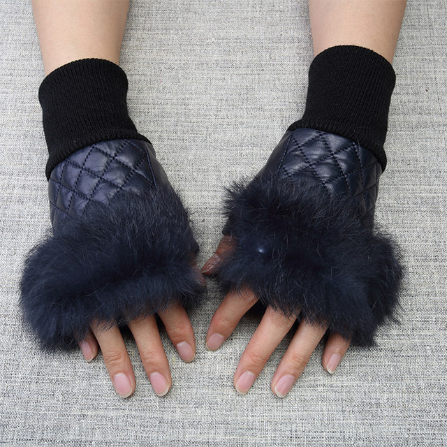 High Quality Elegant Women Leather Gloves Genuine Fingerless With Real Fur Autumn Spring Thermal Hot Trendy Female Glove G576