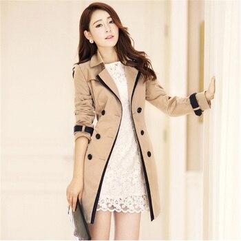 Trench Coat Women Khaki Black S-3XL Plus Size Windbreaker 2019 New Autumn Winter Korean Fashion Vintage Chic Slim Clothing JD339