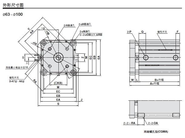 CDQMB 32 Cilindro SMC, diâmetro: 32mm, curso: 40 45 50 75 100mm