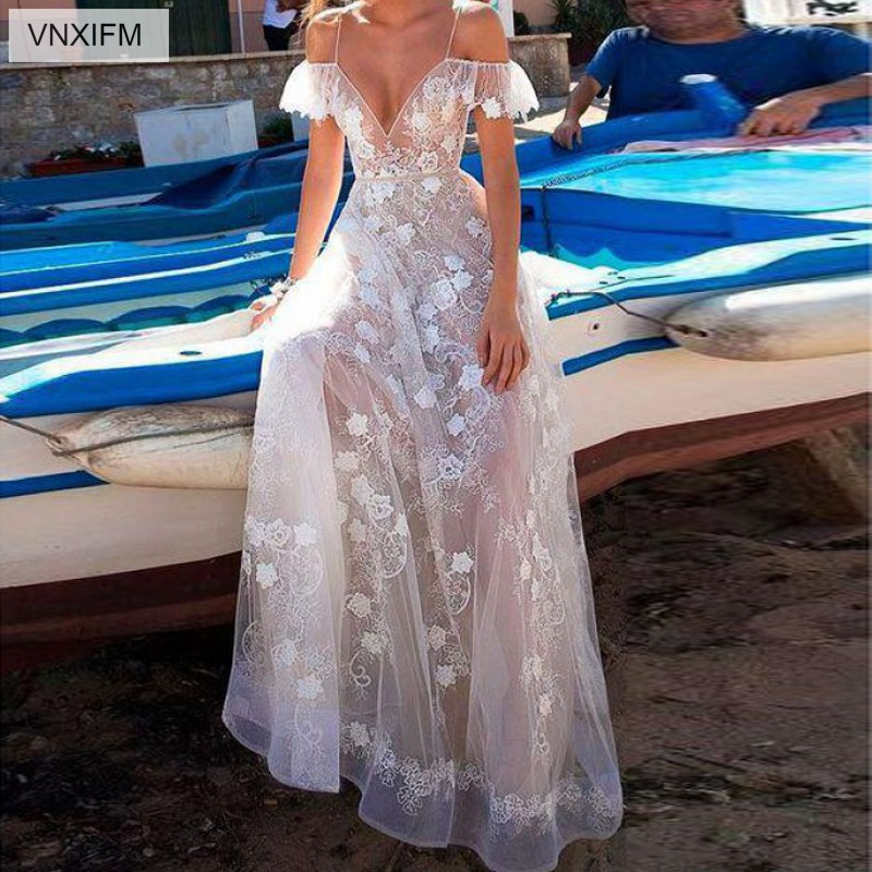 VNXIFM 2019 Sheath Wedding Dress Lace V Neck Bohemian Bridal Gowns A Line Backless Sexy Summer Beach Wedding Dresses-in Wedding Dresses from Weddings & Events