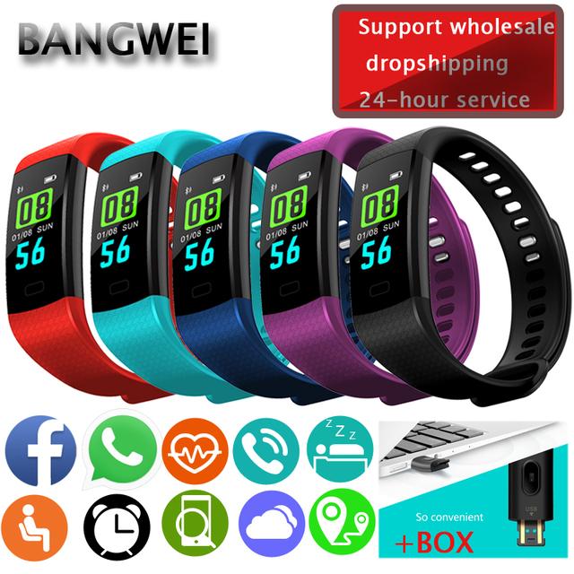 BANGWEI Smart Bracelet Electronic Smart Watch Women Men Running Cycling Climbing Sports Health Pedometer LED Color Screen Watch
