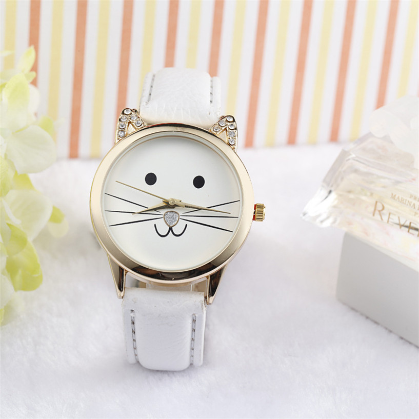 Buy 2017 NEW  Fashion Neutral Lovely Cats Face Faux Leather Quartz Watch Drop Shipping Feb22 for only 1.89 USD