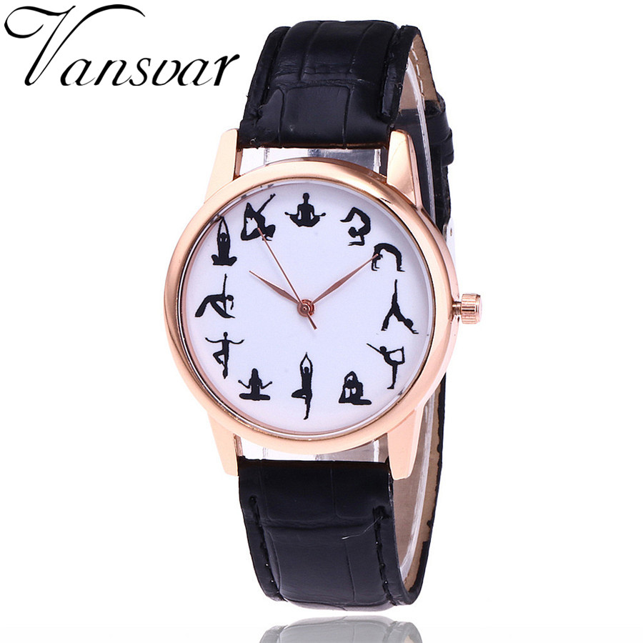 2017 Vansvar Brand Fashion Yoga Watch Casual Women Wrist Watches Leather Quarzt Watches Relogio Feminino Drop Shipping V86