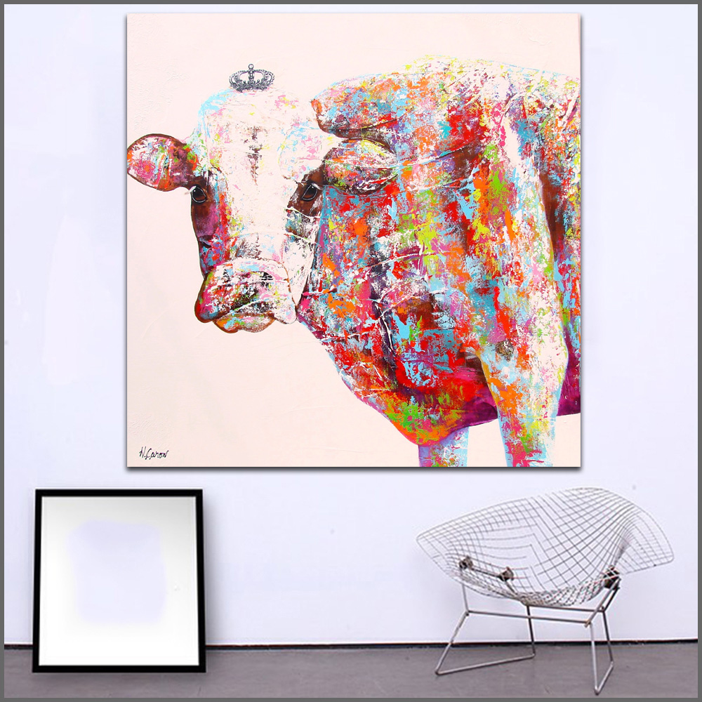 Us 6 5 48 Off Wall Art Painting Modern Colorful Animal Oil Painting On Canvas Vivid Color Animal Pop Cow Art Oil Painting No Frame Wlong In Painting