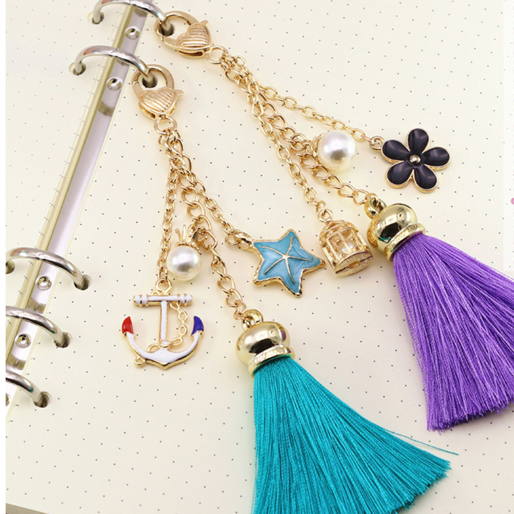 Leather Notebook Accessory Metal Charm Tassels Fashion Creative Hanging Drop As Pendant Bookmark Decoration For Diary Journay