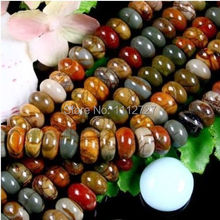 "Fashion jewelry 5X8MM Multi-color Picasso Stone Gems loose beads Accessory Parts Natural Stone 15""MY4322 Wholesale Price"