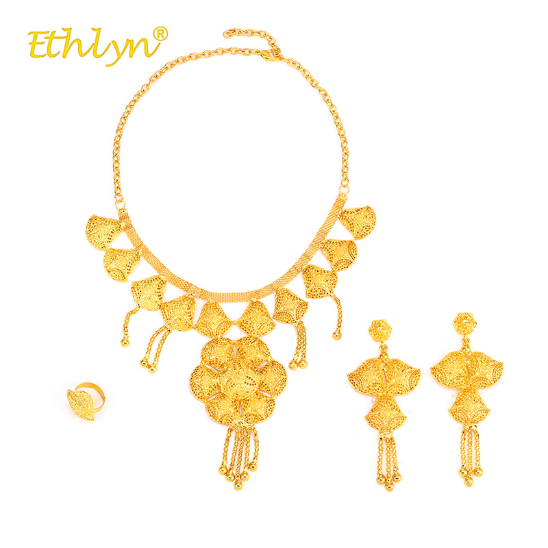 Ethlyn Magnificent Africa/the Middle East/Ethiopia Wedding Gold Color Big Pendant Necklace/ Long Tassel Earrings/Adjustable Ring adiors long middle parting shaggy wavy color mix synthetic party wig