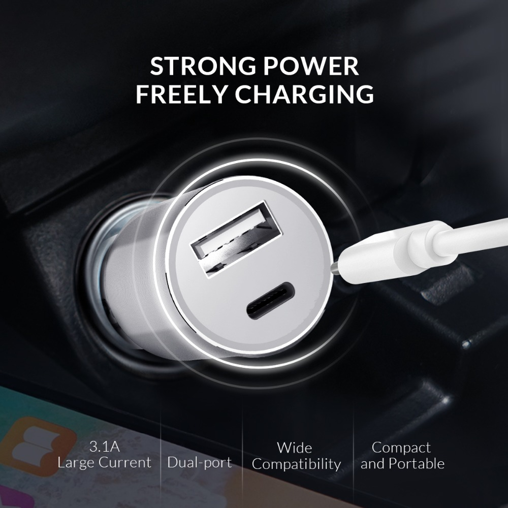 ORICO Dual Output Car Charging Type C Port + USB Charger Car Cigarette Lighter Charger Wide Voltage Mobile Phone Charger (3)