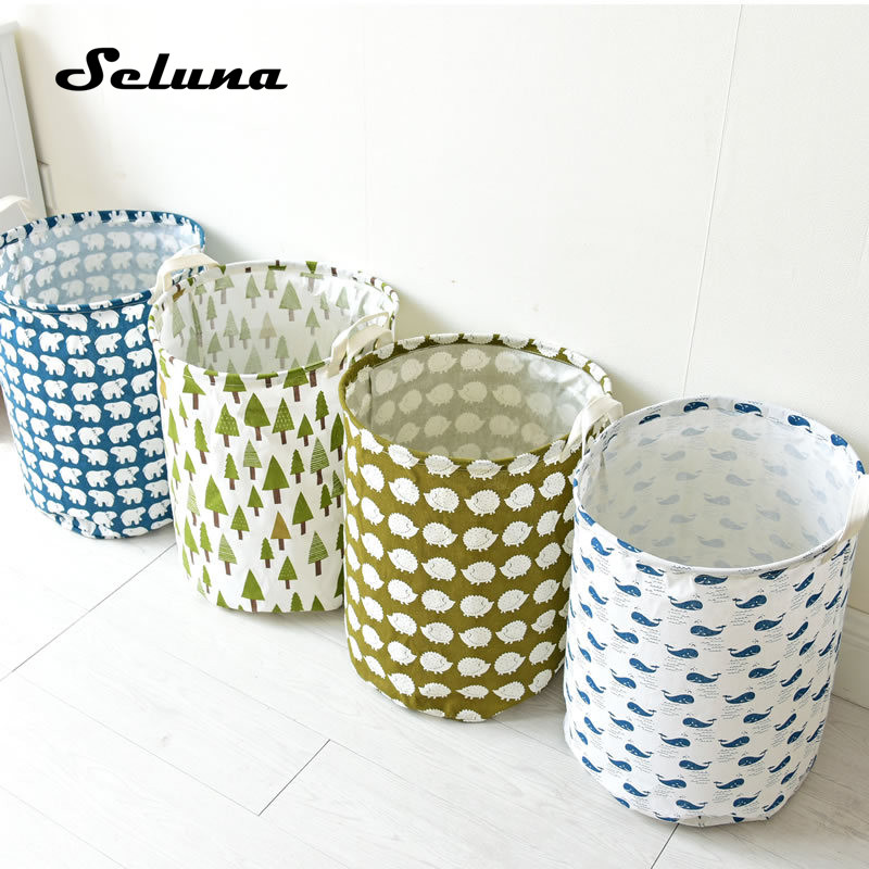 Foldable Cotton Linen Laundry Bag Waterproof Canvas Large INS Drawstring Laundry Basket Toys Clothes Storage Organizer With Lid