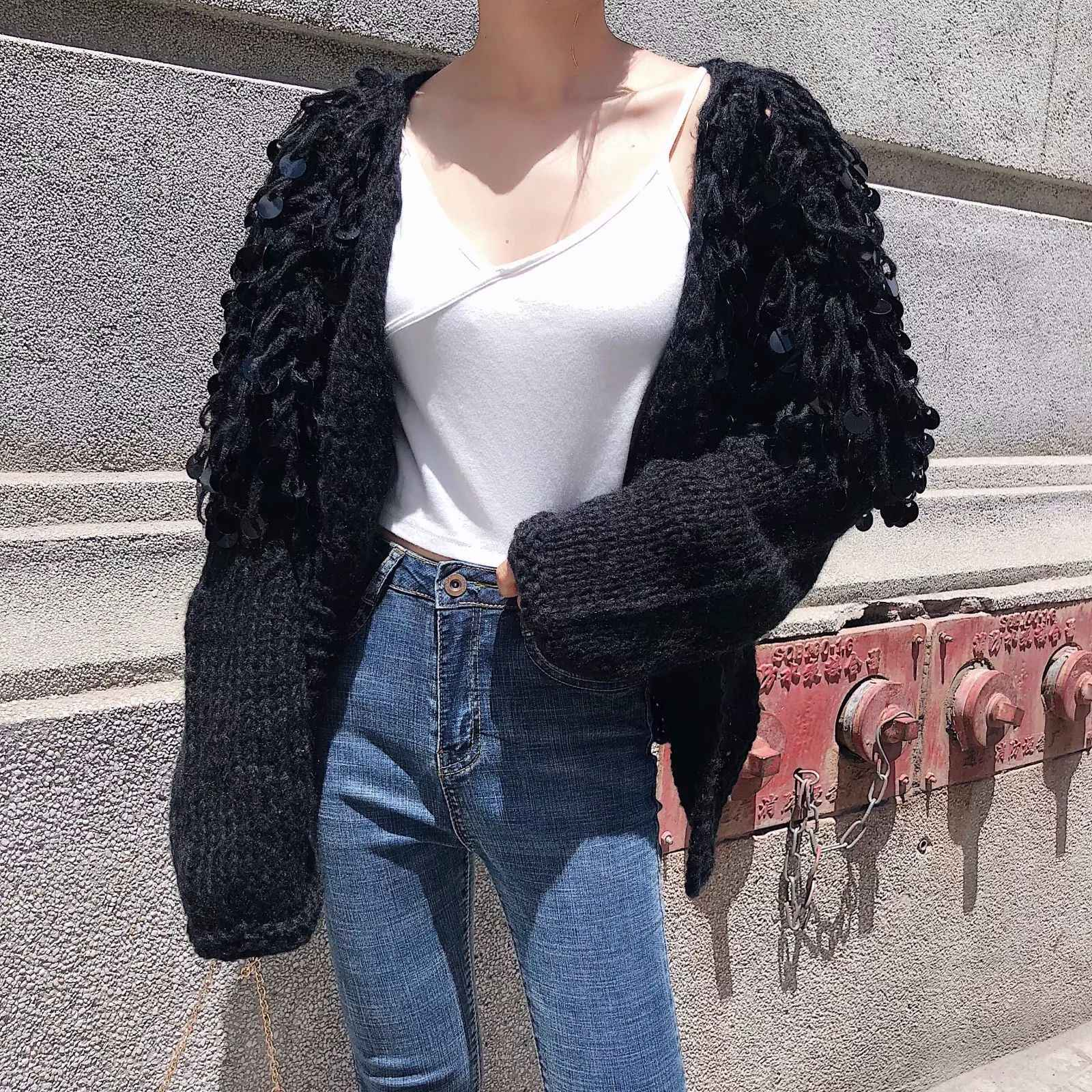 dfaa5e85bca6 ... Hand Knitted Beading Cardigan Women Fringed Sweater Loose 3D Sequined  Tassels Coat Hollow Wool Circles Fringed ...