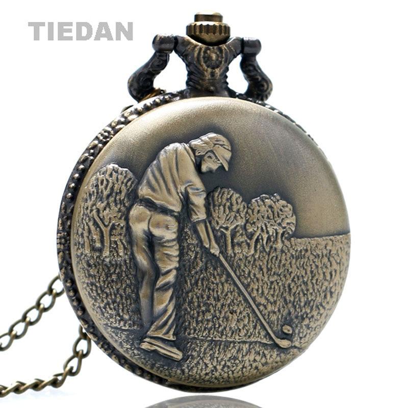 TIEDAN BRAND Antique Retro Bronze Play Golf Pocket Watches Best Gift for Golfer VIntage Quartz Pocket Watch with Chain Necklace