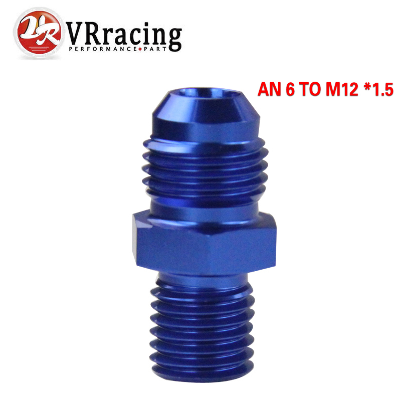 VR RACING - BLUE Male 6AN 6 An Flare to M12x1.5(mm) Metric straight fitting AN 6 To M12 *1.5 Port. Adapter VR-SL816-06-123-011