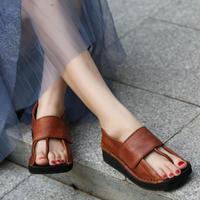 Женские кожаные сандалии, вьетнамки, летние туфли на плоской подошве, сандалии в стиле ретро, женские брендовые сандалии ручной работы из на