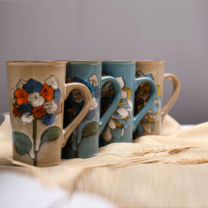 Image 2 - 손으로 그린 세라믹 컵 큰 머그잔 복고풍 커피 식기 개성 커플 창의력의 전체