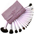 21 Pieces Comestic with Pink Plaid Case Professional Makeup Accessories Brushes Tools Foundation Brush Sets & Kits High Quality