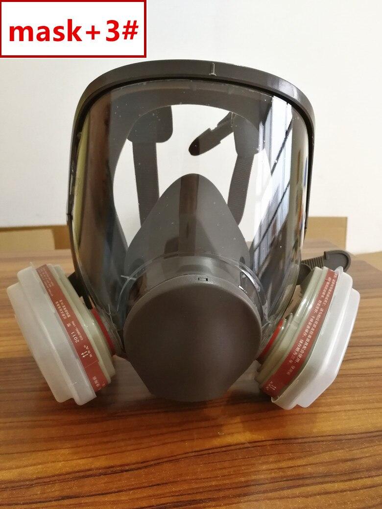 6800 Gas Mask add SJL 3# Cartridge  7pcs suit Full Face Facepiece  Respirator For Painting Spraying same 3M 6800respirators for  paintinggas maskfull facepiece respirator