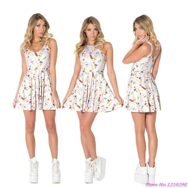 Online Shop Lovely Ice Cream Skater Dress Ladies Reversible Summer Dress  Women Sleeveless Leisure one-Piece Pleated Tennis Dress 3D Printed  336baa9e8