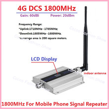 LCD Display!!! Mini 2G 4G LTE GSM DCS 1800MHZ Mobile Signal Repeater , GSM DCS 1800 MHz cellular signal booster + Indoor Antenn