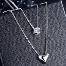 Новинка, двухслойная цепочка, циркониевое сердце, подвески, ожерелья для женщин, трендовая цепочка ожерелья для свитера, 925 пробы, Серебряное ювелирное изделие, SAN57
