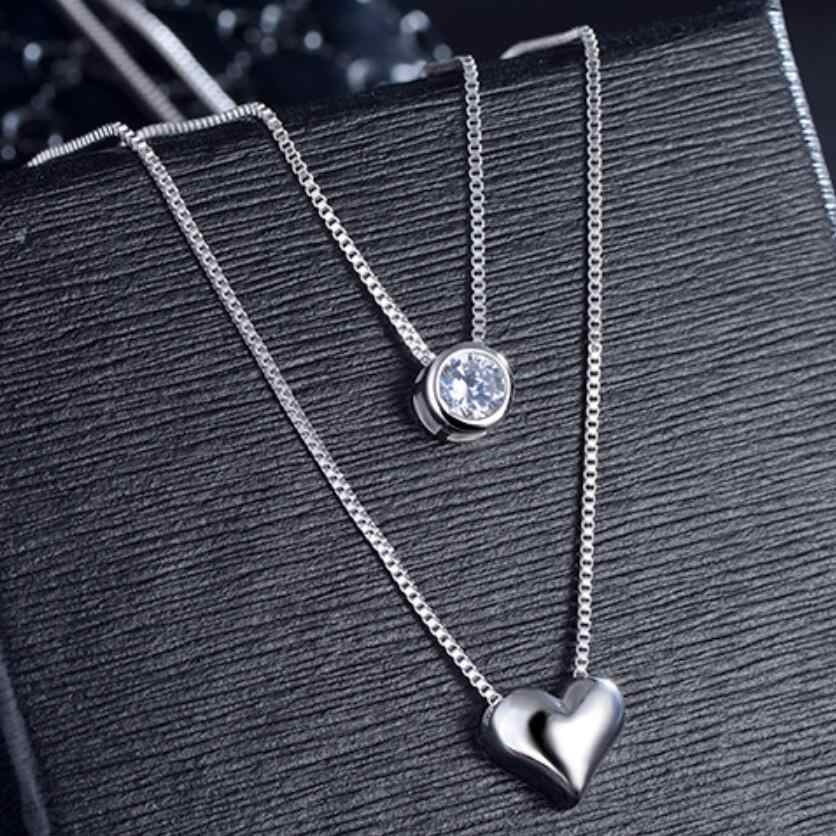 New Double Layer Chain Zircon Heart Pendants Necklaces For Women Trend Sweater Chain Choker 925 Sterling Silver Jewelry SAN57