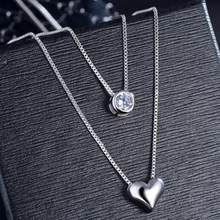 New Double Layer Chain Zircon Heart Pendants Necklaces For Women Trend Sweater Chain Choker 925 Sterling Silver Jewelry SAN57(China)