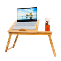 53cm Smooth Adjustable Computer Desk with Cup Stand Wood Color