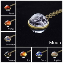 Fashion Solar System Moon Earth Sun Mars Jupiter Planet Necklace Double Side Glass Ball Pendant Universe Space Jewelry