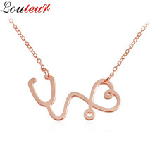 LOULEUR 2017 New Unique Heart Stethoscope Necklace Pendant for Women Rose Gold/Gold Color Chain Choker Necklace Collier Femme