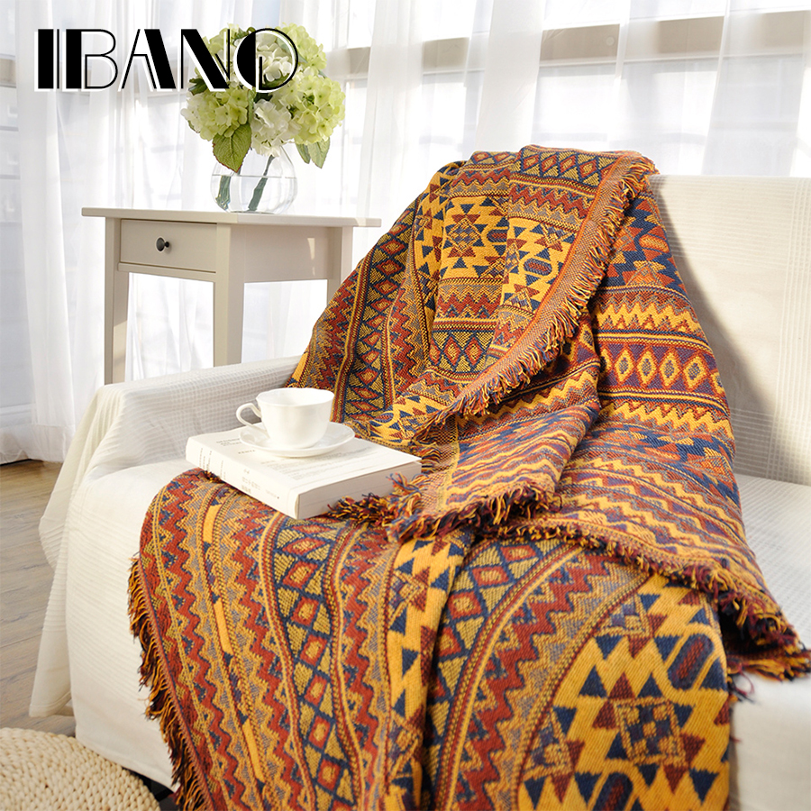 IBANO Cotton Sofa Blanket Cover Throw Blanket Home Decorative Beed Sheet Floor Mat 130x180CM Thread Blanket With Tassel Vintage double sides reversible mysterious style blanket 130 160cm durable wearable comforter sofa cover cloth pet blankets floor mat