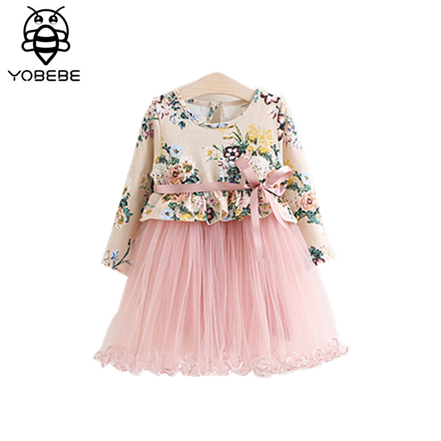 Baby Girl Lace Dress spring long sleeve floral Tutu dress Kids Birthday Wedding Party Clothes 2-7y toddler girls clothing new toddler girl dresses chinese new year lace embroidery flowers long sleeve baby girl clothes a line red dress for party spring