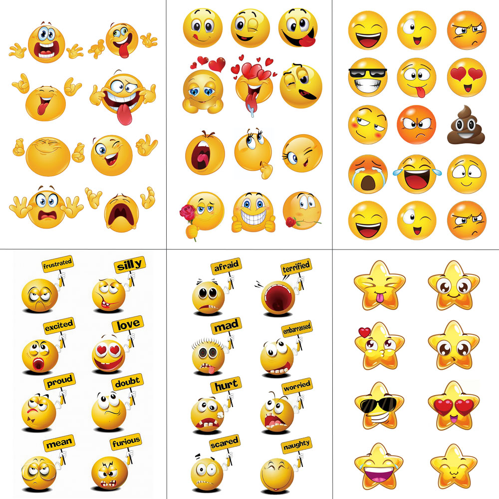 HXMAN Emoji Amarela Tatuagens Temporárias Adesivos À Prova D' Água Dos Homens Das Mulheres Moda Falso Body Art 9.8X6 centímetros Crianças Mão Rosto tatuagem B-041