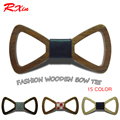 15 Colores Nuevo Estilo de Moda gravata Corbatas de seda Adultos ahueca hacia fuera el Hombre de Madera Pajaritas Gravata Novio Negocio De Madera Arco lazos