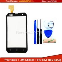 Free DIY Tools+3M Sticker Original Touch Screen For CAT B15 B15Q Glass sensor for cat b15 touch screen digitizer Black