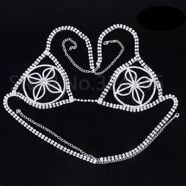 2016 New Arrival Sexy Crystal Bikini Model Body Jewelry Silver Rhinestone Bra Jewelry shoulder Body chain Necklace Accessories