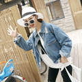 6942 spring and autumn HARAJUKU bf loose long-sleeve hole denim coat outerwear short design female
