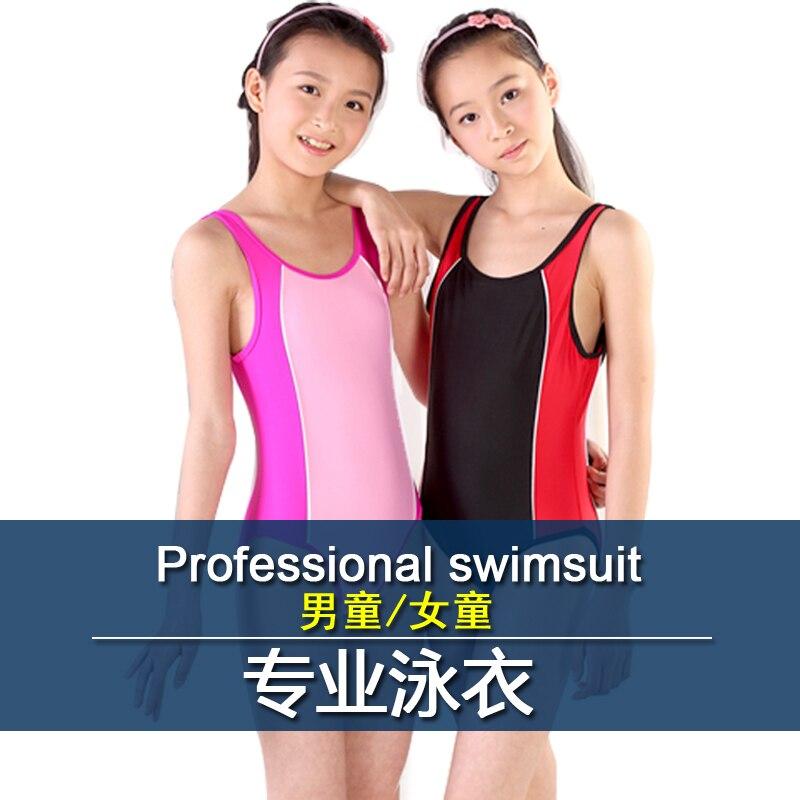 Professional racing style child swimwear male female teenage one piece swimsuit  -  jianbing wang's store store