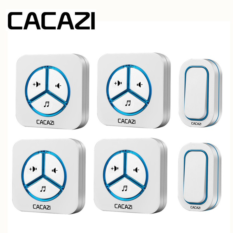 CACAZI Waterproof Doorbell Call Wireless Battery 12V23A Smart Household Ring bell 48 Songs 280M Remoto US EU UK AU Plug Receiver цены