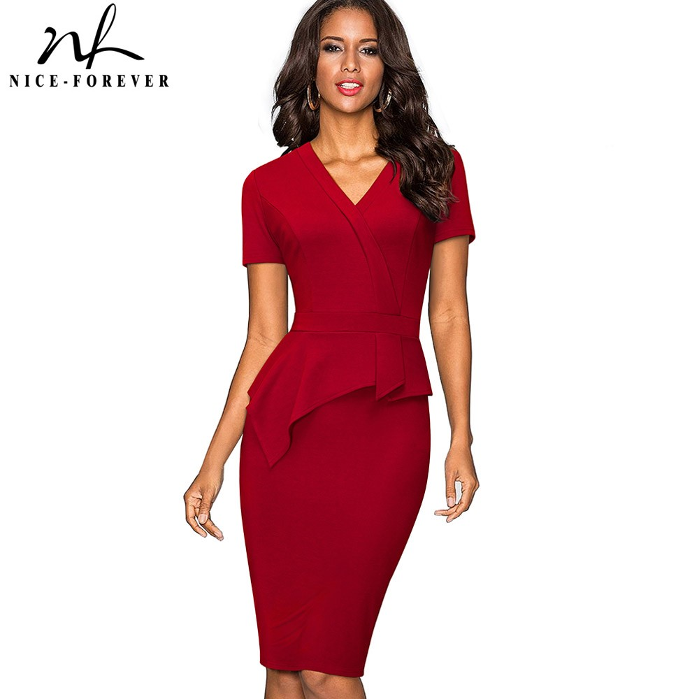Nice Forever Vintage Solid Color Mature Brief Wear To Work Ruffle Vestidos Bodycon -9911